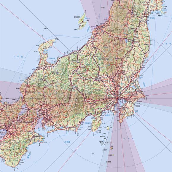 方位地図画像サンプル1/300万